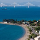 Nafpaktos beach and view to rio antirio bridge